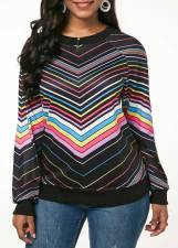 Wavy Stripped Long Sleeve Sweat Shirt
