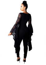 Lace Upper Deep-V Jumpsuit with Wide Sleeves