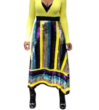 Multi-Color Sequins Clubbing Maxi Skirt