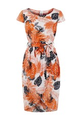 Short Sleeve Print Cocktail Dress with Belt