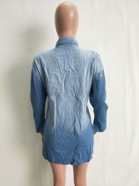 Denim Blue Washing Out Rhinestone Shirt
