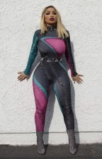 Block Color Long Sleeve Tight Jumpsuit