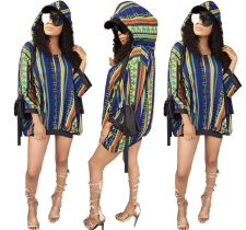 Print Colorful Loose Hoody Top