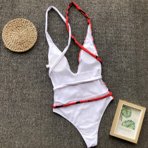 Block Color Print One-Piece Swimwear