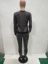 Metalic Sequins Long Sleeve Shirt and Leggings