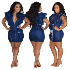 Denim Blue Zipped Up Ruffles Bodycon Dress