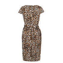 Print Leopard Irregular Cocktail Dress with Belt