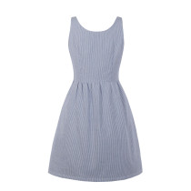 White and Blue Strippes Sleeveless Skater Dress