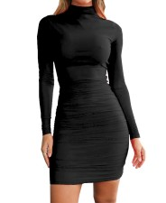 Solid Color Long Sleeve Ruched Bodycon Dress