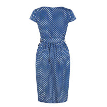 White and Blue Dot Irregular Cocktail Dress with Belt