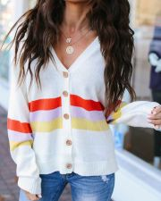 White Stripped V-Neck Cardigans