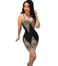 Gold and Black Flower Straps Party Dress