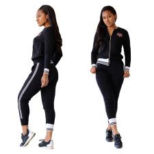 Long Sleeve Black Tracksuit with Contrast Trim
