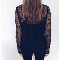Lace Patchwork Black Long Sleeve Shirt