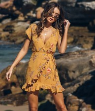 Print Flower Short Sleeve Wrapped Dress