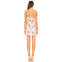 Wide Straps Floral Mini Dress