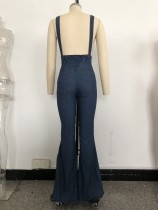 Dark Blue Wide Legges Denim Bib Pants