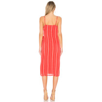White and Red Stripped Straps Long Wrap Dress