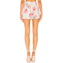 Print Flower Split Mini Skirt