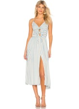 White and Blue Stripped Straps Long Dress