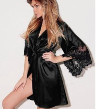 Satin Pajama with Lace Sleeves