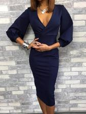 Blue V-Neck Pencil Dress with Pop Sleeves