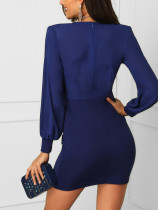 Blue V-Neck Wrapped Party Dress