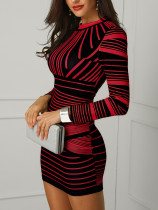 Long Sleeve Stripped Party Dress