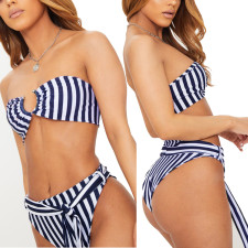 Two-Piece Stripped Bandeau Swimwear