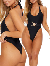 Black High Cut One-Piece Swimwear
