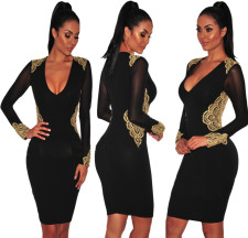 Print Black Long Sleeve Plung Bodycon Dress