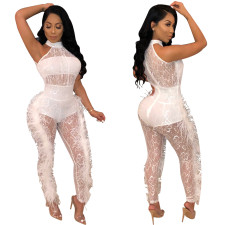 White Lace Scoop Jumpsuit with Plush Trim