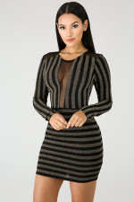 Print Stripped Sequins Party Dress