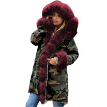 Print Camou Long Coat with Fur Trim