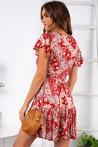 Print Flower Short Sleeve Wrap Dress