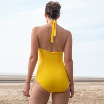 Yellow One-Piece Halter Swimwear
