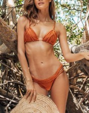 Plain Color two-Piece Crochet Swimwear