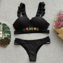 Black Two-Piece Retro Swimwear