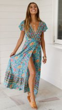 Print Flower Short Sleeve Long Wrap Dress