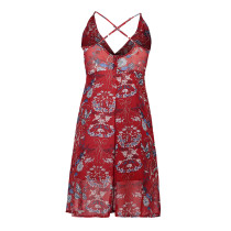 Flower Print Straps Wrapped Dress