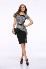 White and Black Short Sleeve Office Dress