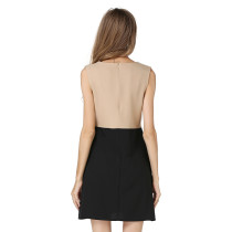 Block Color Sleeveless O-Neck Mini Office Dress