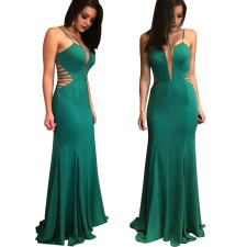 Green Straps Hollow Out Evening Dress