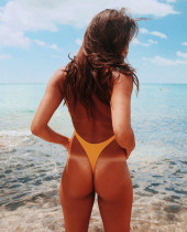 High Cut One-Piece Backless Swimwear