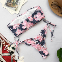 Two-Piece Romantic Print Strapless Swimwear