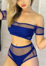 Two-Piece Fishnet High Waist Swimwear