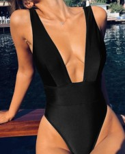 One-Piece Deep-V Swimwear