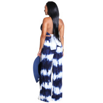Sexy White and Blue Criss Cross Jumpsuit