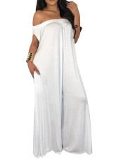 Plain Color Off Shoulder Wide Jumpsuit