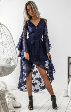 Blue Lace Long Sleeve High Low Formal Dress